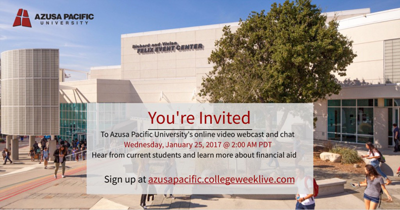 Blog post image for Live Chat with Azusa Pacific University on Wed Jan 25