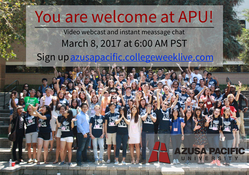 Blog post image for Video webcast and chat: Azusa Pacific University